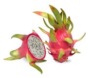 Pink dragon fruit are rich in vitamin c. Pink dragon fruit. Fruitage of cactus is tropical fruit. Have sweet refreshing flesh, soft, juicy with small black stock image