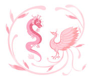 Pink Dragon and phoenix for symbolism in traditional Chinese wed Royalty Free Stock Images