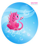 Pink dragon and soap bubbles. Illustration with a pink dragon and soap bubbles in vector vector illustration