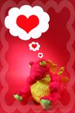 Pink Dragon With Thoughts of Love and Romance - Valentine. Seasonal - Toy stock illustration