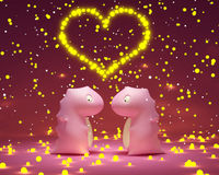Pink dragon toys in love Stock Image