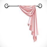 Pink drapery hanging on forged cornice Royalty Free Stock Photos