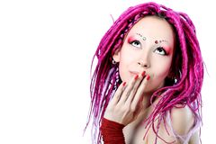 Pink dreadlocks Royalty Free Stock Photos