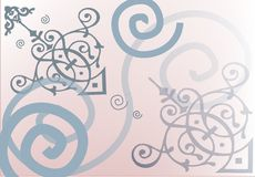 Pink dream. Pink background with spirals decorations, art nouveau elements Stock Photography