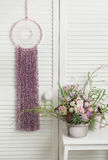 Pink dream catcher with flowers Stock Image