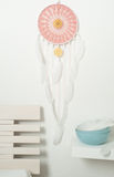 Pink dream catcher with white feathers Royalty Free Stock Photos
