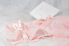 Pink dress. To birthday of the girl Royalty Free Stock Photography