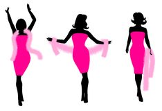 Pink Dress Feather Boa Silhouettes Royalty Free Stock Photos