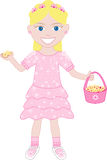 Pink Dress Flower Girl. Vector of cute little girl with Flowers and Basket Stock Images