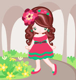 Pink Dress in the garden. Girl dressing up with pink dress and walk in garden Royalty Free Stock Image