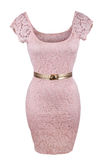 Pink dress with golden belt Stock Photos