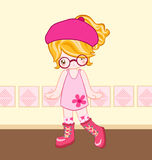 Pink dress up cute look. Illustration of cute girl dressing up with pink dress Stock Photo