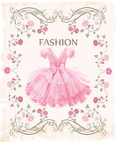 Pink dress. Vintage label with pink dress Stock Photo