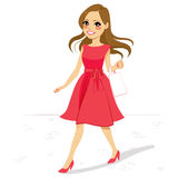 Pink Dress Woman Walking Street Royalty Free Stock Photography