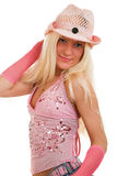 Pink dressed blonde stock images