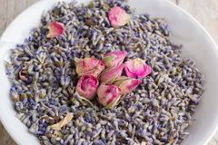 Pink dried roses and lavender flawers Royalty Free Stock Photo