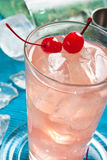 Pink drink whit cherry Stock Image