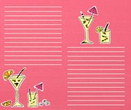 Pink drinks menu. Fashionable pink background drinks menu stock illustration