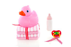 Pink duck and baby supplies Stock Photos