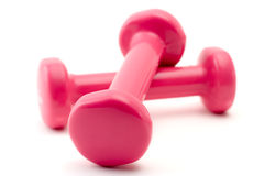 Pink dumbbells Royalty Free Stock Image