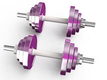 Pink dumbbells. Female pink barbells  isolated on  white background Royalty Free Stock Photos