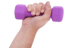 Pink dumbbells in hand (clipping path) Royalty Free Stock Photo