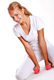 Pink dumbbells in the hands of women Royalty Free Stock Photo