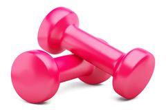 Pink dumbbells isolated on white Stock Photo