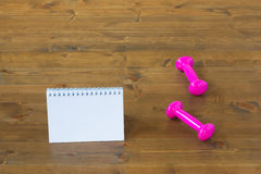 Pink dumbbells and notebook on the floor in the gym. Two pink dumbbells for sports and memo pad on the floor Stock Image
