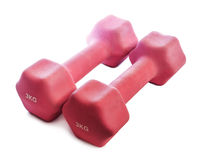 Pink dumbbells weighing 3 kg Stock Image