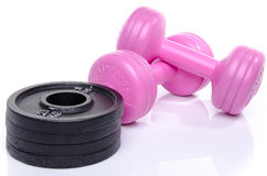 Pink dumbells with weights Stock Image