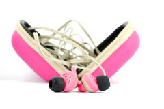 Pink earphones Royalty Free Stock Photo