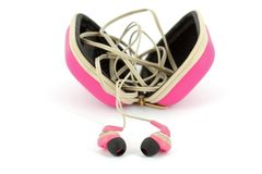Pink earphones Royalty Free Stock Image