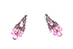 Pink earrings jewelry Stock Photos