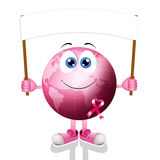 Pink earth with pink awareness ribbon Stock Images