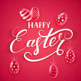 Pink Easter background with eggs. White lettering Happy Easter with decorative eggs on pink background, illustration Royalty Free Stock Image