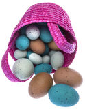 Pink Easter Basket with Eggs Stock Photos