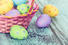 Pink Easter basket with eggs Stock Photography