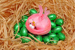 Pink Easter birds Stock Photo