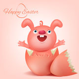 Pink easter bunny character with cracked egg Royalty Free Stock Image
