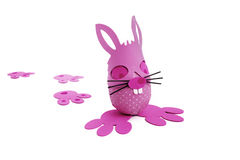 Pink Easter bunny egg and tracks. On white background Royalty Free Stock Images