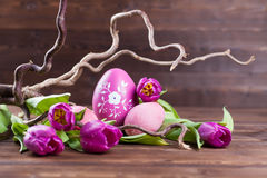 Pink easter cecoration. Tulips easter egg decoration idea in pink Stock Images