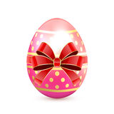Pink Easter egg with bow Stock Images