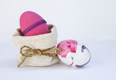Pink Easter egg design idea in canvas bag Stock Photo