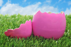 Pink easter egg on the grass. Over the blue sky Stock Photography