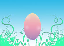 Pink Easter egg and grass. Illustration of pink Easter egg nestled in decorative green grass with blue background Stock Image