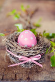 Pink easter egg in nest Royalty Free Stock Photo