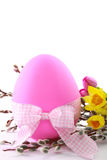 Pink Easter Egg with Spring Flowers Royalty Free Stock Image