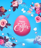 Pink Easter egg surrounded by buds of beautiful half-painted flowers, pretty bird and butterflies against blue sky on Royalty Free Stock Photography