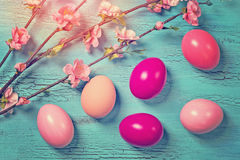 Pink easter eggs royalty free stock image